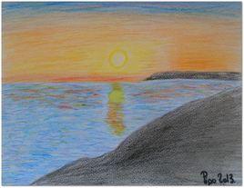 Le coucher de soleil sur Royan (pastels,craies)