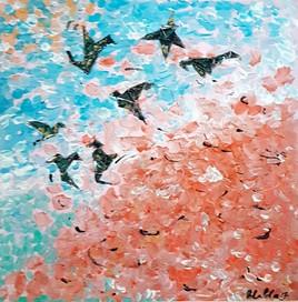 Vol d oiseaux en automne