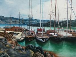 Les bateaux à Santorini