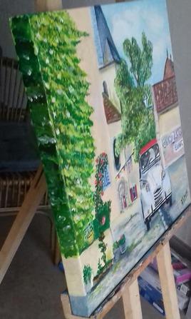 Peinture  50cm x 50cm vue détail