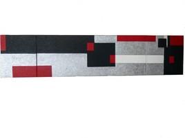 JEUX DE CARRES ROUGE/NOIR/GRIS