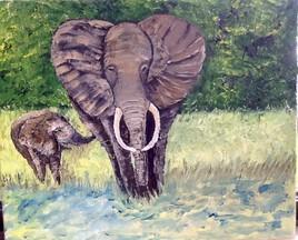 Éléphant et son petit