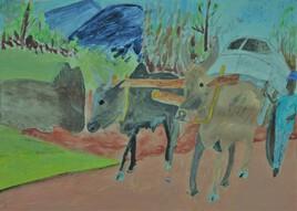 le char à zébus d' Antongona, la peinture
