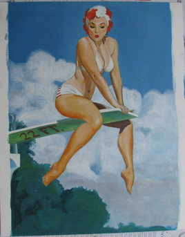 pin up au plongeoir