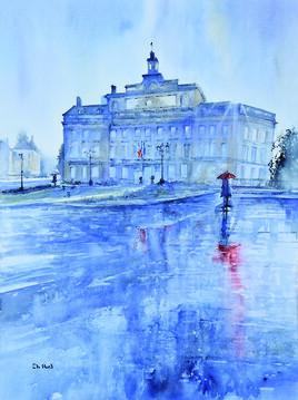 Alençon l'Hotel de ville sous la pluie