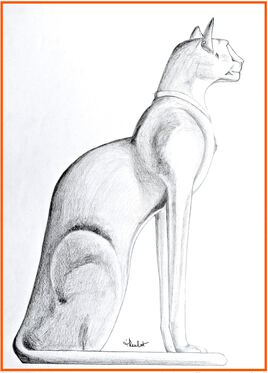 Chat égyptien Bastet / Drawing A egyptian cat Bastet