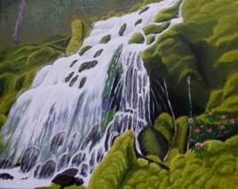 Une cascade sur une île
