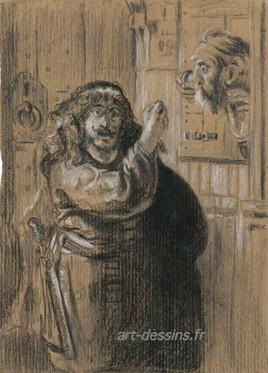 dessin au fusain, d'après Rembrandt