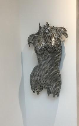 Sculpture buste femme acier