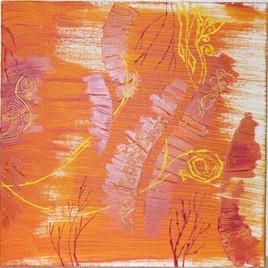Diptyque 2ième partie Abstrait d'oranges fleuries