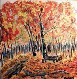 Les couleurs de l'automne la solitude d'un banc  au bois de Bondy