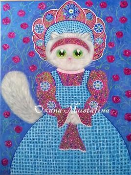 "Peinture acrylique ""Chat russe Iryna"""