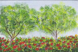 Lit de fleurs rouges