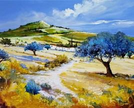 Les oliviers bleus - ©Bruni Eric. Tous droits réservés - Tableau peinture, paysage provençale.