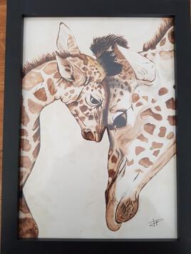 Maman girafe et son petit girafon
