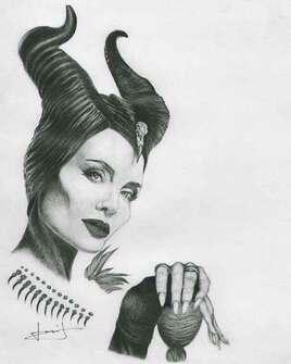 Dessin de portrait d'Angélina Jolie, par PORTRAIT éMOI