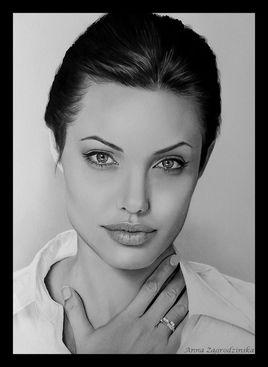 Angelina - dessin en noir et blanc