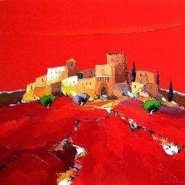 Peinture village fortifié