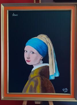 Copie Acrylique : La jeune fille à la perle