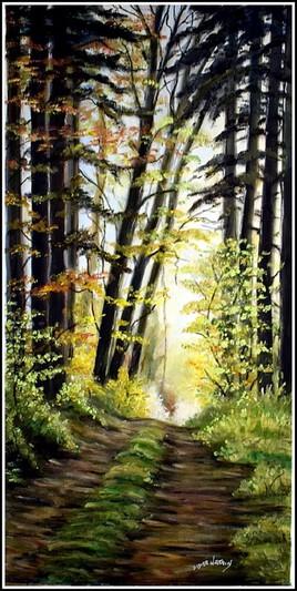 Chemin de forêt , d'après une photo libre de droit de Fietzfoto sur Pixabay