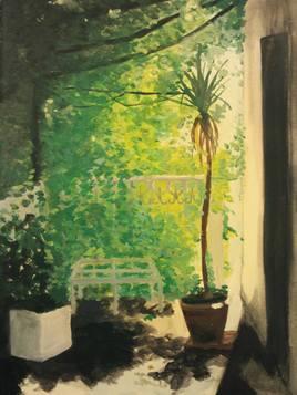 Le palmier sur la terrasse.