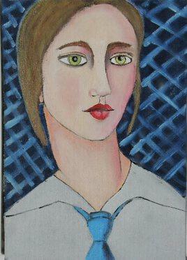 La femme à la cravate bleue