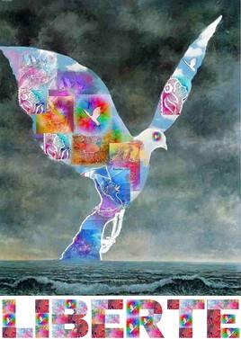 liberté.. revisite de la Colombe de Magritte.. 1