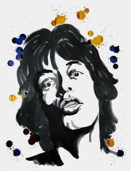 Mick Jagger et un feux d'artifice de taches de couleurs