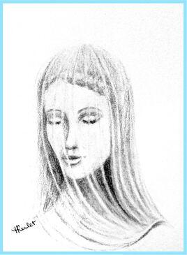 Dessin La Vierge voilée / Drawing The veiled Virgin