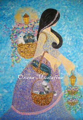 "Peinture acrylique ""Princesse- fleuriste"""