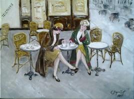 demoiselles en terrasse