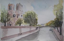 Vue de Paris. Notre Dame et la Seine