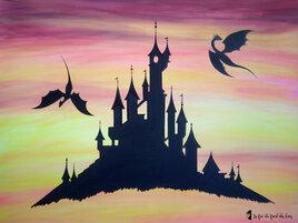 Toile Château et dragons