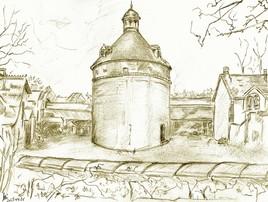 Dessin Oisème, le pigeonnier de la ferme du chateau de Couttes