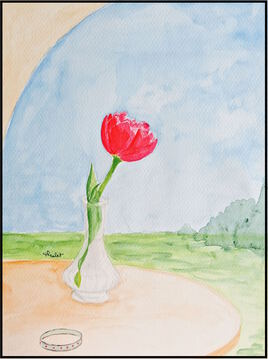 Peinture La tulipe rouge / Painting A red tulip