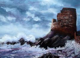 Peinture La tour gênoise d'Erbalunga