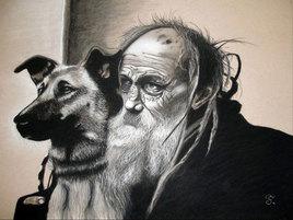 Le vieux monsieur et son chien