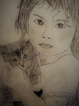 Petite fille et son chat