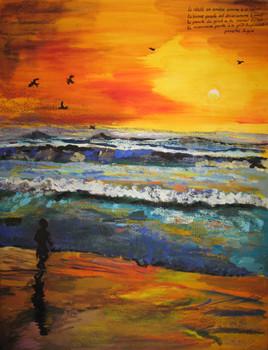 L'atlantique au coucher de soleil