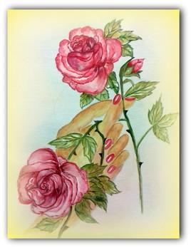 66.....UNE  ROSE POUR UN DIMANCHE (Aquarelle et crayon aquarellable pour le fond )