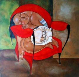 Femme et son chat / Vendu