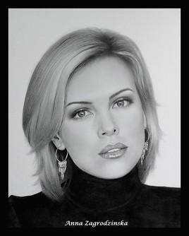 Dessin, portrait de Charlize Theron