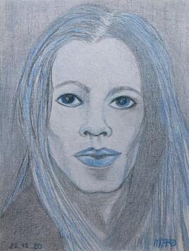 Autoportrait aux crayons de couleurs
