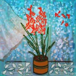 L'Orchidée Rouge - mixed media, digital art - juillet 2021