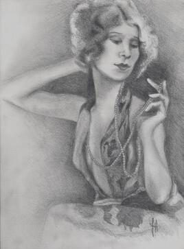 Jeune femme au collier de perles