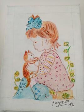 Fillette et son chat d'après Sarah Kay