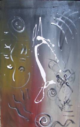 Tableau d'art africain abstrait  : Allégresse
