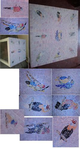 """Table """"Jardin d'Hiver"""" en mosaïque"""