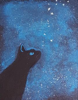 Chat et la nuit étoilée