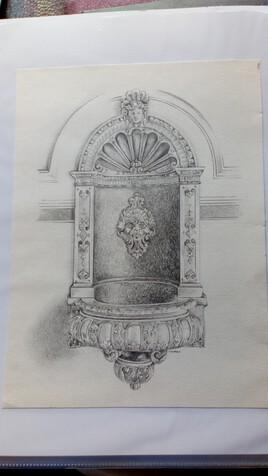 """""""Fontaine pierre et marbre"""" dessin au crayon"""